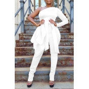 Lovely Leisure One Shoulder White One-piece Jumpsuit