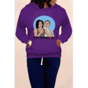 Lovely Casual Hooded Collar Purple Hoodie