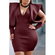 Lovely Temperament V Neck Wine Red Mini Evening Dr