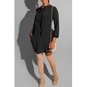 Lovely Leisure Bandage Design Black Mini Dress