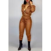 Lovely Street Zipper Design Brown Two-piece Pants