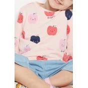 Lovely Casual Printed Pink Girls Sweatshirt Hoodie