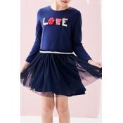 Lovely Sweet Patchwork Dark Blue Knee Length Girls