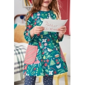 Lovely Sweet Printed Cyan Knee Length Girls Dress