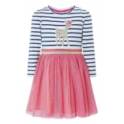 Lovely Sweet Striped Patchwork Pink Knee Length Gi