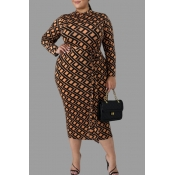 Lovely Casual Printed Brown Knee Length Plus Size