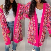 Lovely Casual Patchwork Pink Cardigan