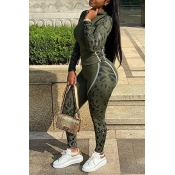 Lovely Sportswear Patchwork Army Green Two-piece P