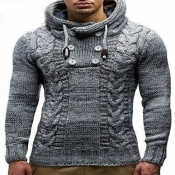 Lovely Casual Buttons Design Grey Sweater