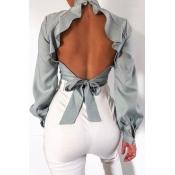 Lovely Sweet Backless Grey Blouse