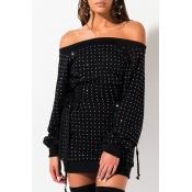 Lovely Casual Hot Drilling Decorative Black Mini Dress