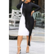 Lovely Casual Patchwork Black And White Knee Lengt