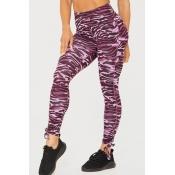 Lovely Casual Printed Skinny Purple Leggings