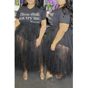 Lovely Casual Patchwork Black Plus Size Skirt