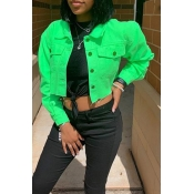 Lovely Casual Buttons Design Green Coat