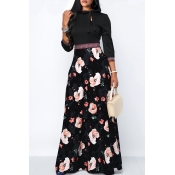 Lovely Sweet Printed Black Floor Length Dress
