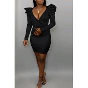Lovely Sweet V Neck Flounce Black Mini Dress