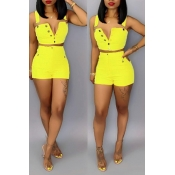 Lovely Trendy Buttons Design Lemon Yellow Two-piece Shorts Set