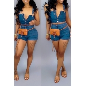 Lovely Trendy Buttons Design Blue Two-piece Shorts