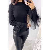 Lovely Trendy Turtleneck Black Sweater