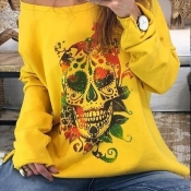 Lovely Casual Skull Printed Yellow Sweatshirt Hood