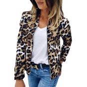 Lovely Casual Basic Printed Brown Coat