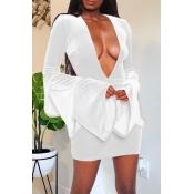 Lovely Party Deep V Neck White Mini Dress