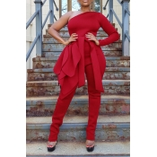 Lovely Leisure One Shoulder Red One-piece Jumpsuit