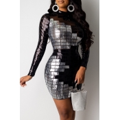 Lovely Party Patchwork Sequined Black Mini Dress