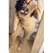 Lovely Casual Hooded Collar Khaki Two-piece Pants Set