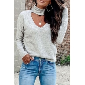 Lovely Hollow-out Light Grey Sweater