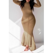 Lovely Casual Skinny Khaki Floor Length Trumpet Mermaid Dress