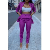 Lovely Trendy Turndown Collar Purple Two-piece Pants Set