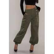 Lovely Casual Basic Army Green Pants