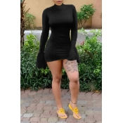 Lovely Trendy Half A Turtleneck Black Mini Dress