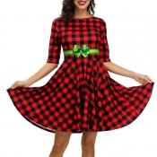 Lovely Christmas Day Plaid Printed Wine Red Mini D