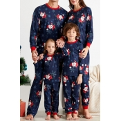 Lovely Family Santa Claus Printed Blue Mother Two-