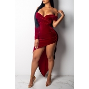 Lovely Party Asymmetrical Wine Red Floor Length Dr