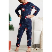 Lovely Family Santa Claus Printed Blue Kids Two-pi