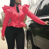Lovely Casual Flounce Design Red Jacket