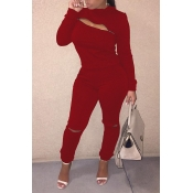Lovely Trendy Zipper Design Wine Red Two-piece Pants Set