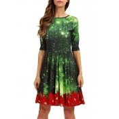Lovely Christmas Day O Neck Printed Green Knee Len
