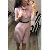 Lovely Sweet Ruffle Design Pink Knee Length Dress