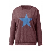 Lovely Casual O Neck Star Dull Red Sweatshirt Hood