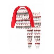Lovely Family Santa Claus Printed White Kids Two-p