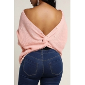 Lovely Sweet Cross-over Design Pink Sweater