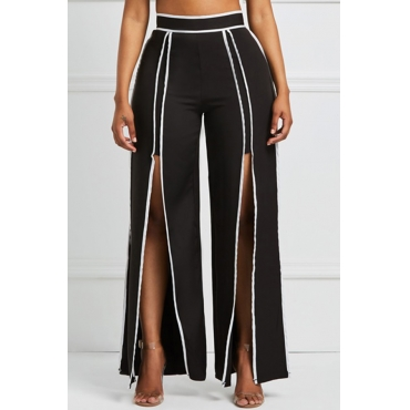 Lovely Work Slit Black Pants