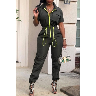 Lovely Trendy Zipper Design Army Green One-piece Jumpsuit