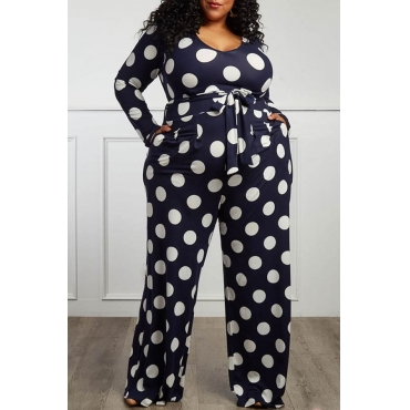 Lovely Trendy Dot Printed Dark Blue Plus Size One-piece Jumpsuit