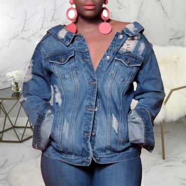 Lovely Casual Buttons And Zipper Design Blue Denim Coat